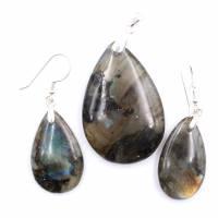 Anhänger und Ohrringe aus Labradorit und Silber 925